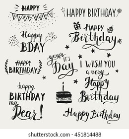 happy birthday modern brush calligraphy set stock vector royalty