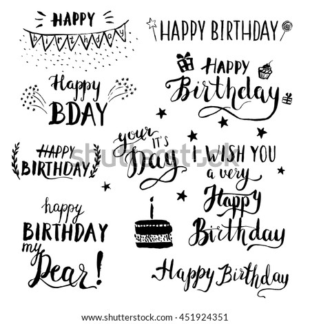 happy birthday modern brush calligraphy set hand drawn ink lettering printable congratulations