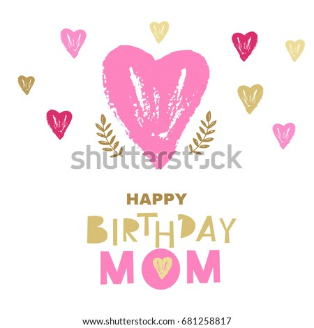 Happy Birthday Mom Greeting Card Design Vector Illustration