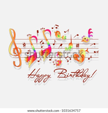 Happy Birthday Musical Congratulations For Romantic Design Announcements Greeting Cards Posters