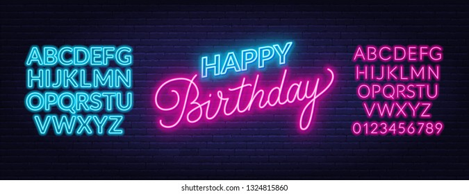 Happy birthday neon sign. Greeting card template on dark background.