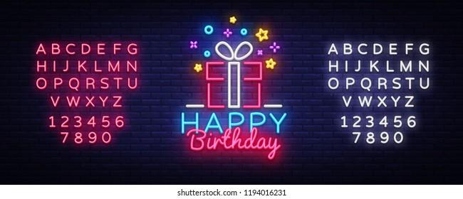 Happy Birthday Neon Sign Vector Design Template Congratulation Celebration