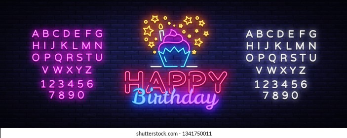 Happy Birthday neon sign vector design template. Happy Birthday neon logo, light banner design element colorful modern design trend, night bright advertising. Vector. Editing text neon sign