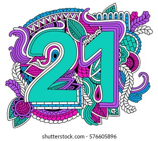 Happy birthday number 21, greeting card for 21year  with geometric shapes. Anniversary party invitation, congratulations or celebration design.