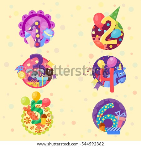 Happy Birthday Numbers Vector Set Anniversary Stock Vector Royalty