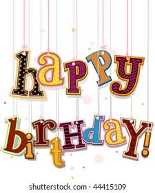 Happy Birthday on Strings - Vector