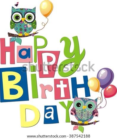 Happy Birthday Owls Card Design Vector Stock Vector Royalty Free