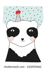 Happy Birthday Panda with a party hat and konfetti nursery wallart, baby kids room decoration, greeting card design vector illustration bedding kids fashion clothes funny bear cute animal red cheeks