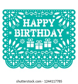 Happy Birthday Papel Picado vector design - Mexican fiesta paper decoration - birthdya party greeting card. Cut out paper template with flowers and abstract shapes, festive floral composition