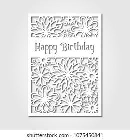 Happy birthday. Paper cutting template card. Cutout paperwork.