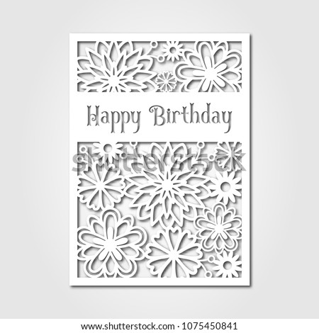 Happy Birthday Paper Cutting Template Card Stock Vector Royalty