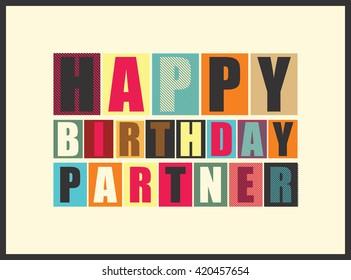Happy birthday partner. Vector illustration