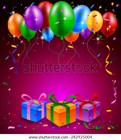 Happy Birthday Party With Balloons And Gift Background
