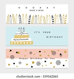 Happy Birthday Party banners set. Vector hand drawn illustration.