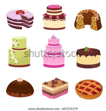 Happy Birthday Party Cakes Decorations Isolated Stock Vektorgrafik