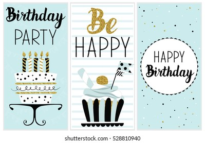 Happy Birthday Party Cards Set With Cake Cupcake Topper Candles And Lettering Text