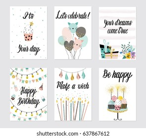 Happy Birthday Party cards set with cake, cupcake, topper, candles and lettering text. Vector hand drawn illustration.