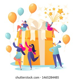 Happy Birthday party celebration with friends. Happy, flat, people characters blow their whistles, launch fireworks, dance and celebrate the holiday around a big, beautiful, bright gift box.