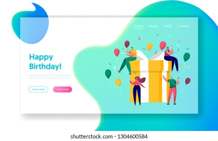 Happy Birthday Party Celebration Landing Page. Gift Design for Christmas Surprise Event. Woman Friendship Concept. Anniversary Confetti Balloon for Website Web Page. Flat Cartoon Vector Illustration