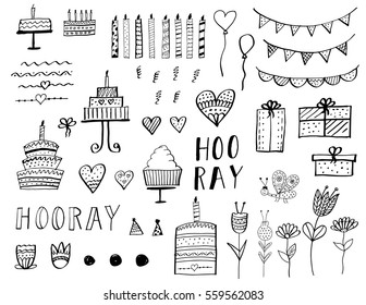 Happy Birthday Party elements set. Vector hand drawn illustration.