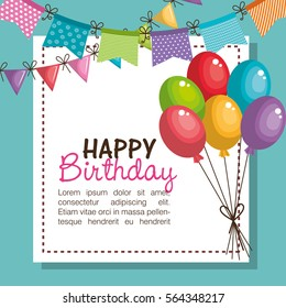 happy birthday party invitation with balloons air