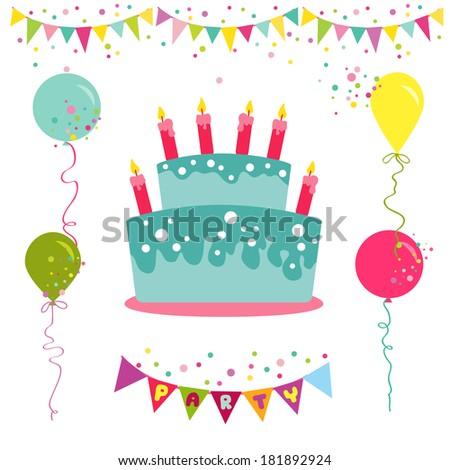 Happy Birthday Party Invitation Card Place Vector De Stock Libre De
