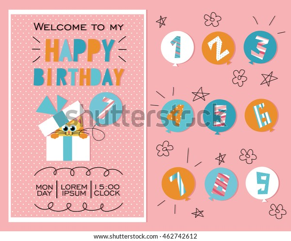 Happy Birthday Birthday Party Invitation Card Stock Vector ...