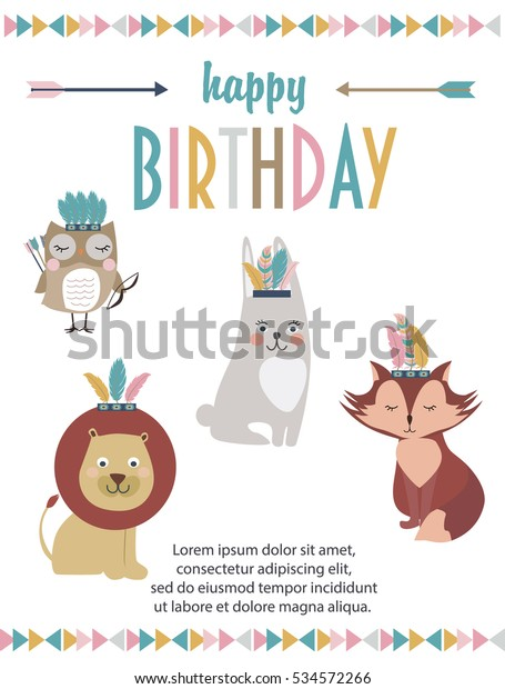 Happy Birthday Party Invitation Card Cartoon Stock Vector