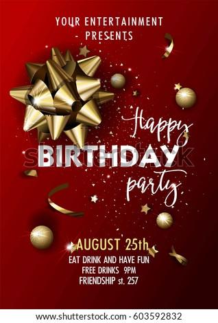 happy birthday party invitation vector poster のベクター画像素材