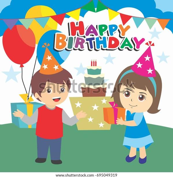 стоковая векторная графика Happy Birthday Party Kids Boy Girl без