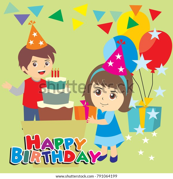 Happy Birthday Party Kids Boy Girl Stock Vector Royalty Free 791064199