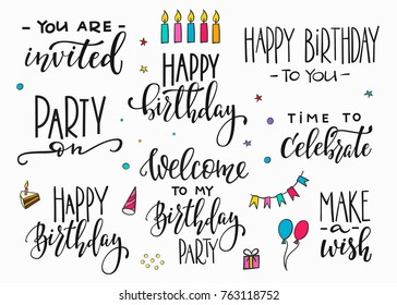 Happy Birthday Party lettering sign quote typography set. Calligraphy design for postcard poster graphics. Simple vector brush sign card colored element. Decor confetti flag cake balloon