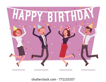 Happy birthday party in office. Festive gathering of company employees at coworker birth anniversary, celebrating excited at corporate event, Vector business concept flat style cartoon illustration