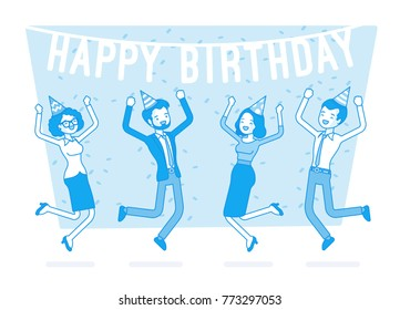 Happy birthday party in office. Festive gathering of company employees at coworker birth anniversary, celebrating excited at corporate event. Vector business concept line art illustration