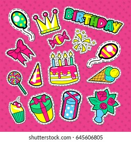 Happy Birthday Party Stickers, Badges and Patches. Kids Celebration Doodle with Cake, Balloons and Gifts. Vector illustration