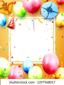 Happy birthday party template with colorful balloons, gift boxes and confetti on orange background. Space for your text