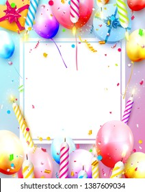 Happy birthday party template with colorful balloons, candles, gift boxes and confetti. Space for your text