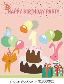 Happy birthday party,kids,Vector logo template