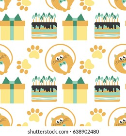 Happy birthday. Pattern with cat vector illustration
