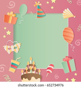 Happy Birthday Photo Frame. A Realistic Image That Simulates Paper. For A  Girls.