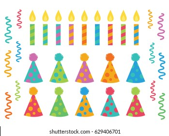 Happy Birthday Polka Dot Pom Hats and Striped Candles