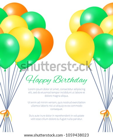 Happy Birthday Postcard Balloons Big Bundles For Party Decorations Birthdays And Anniversaries Balloon Of