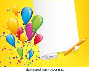 Happy birthday postcard with balloons explosion and blank paper. Child party invitation. Vector illustration.