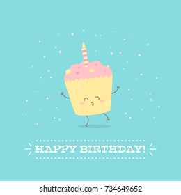 Happy Birthday postcard with cheerful cupcake for greeting templates, celebration banners, invitations, flyers