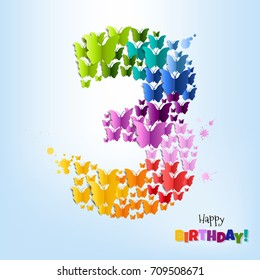 Happy Birthday Postcard Three Years Gradient Mesh, Vector Illustration