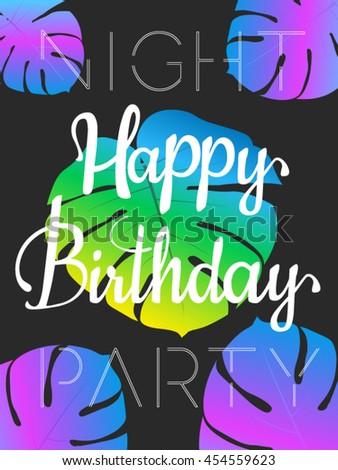 happy birthday poster design template invitation stock vector