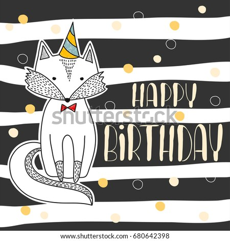 happy birthday poster hand drawn cute stock vector royalty free