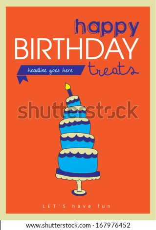 happy birthday poster template vectorillustration layout stock