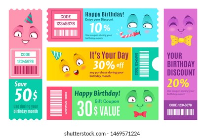 Happy birthday promo voucher. Anniversary coupon, happy gift vouchers and smiling promo code coupons template. Kawaii manga face birthday shopping certificate. Isolated vector symbols set