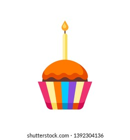 Happy Birthday puncake with candle. Festive icon or illustration.